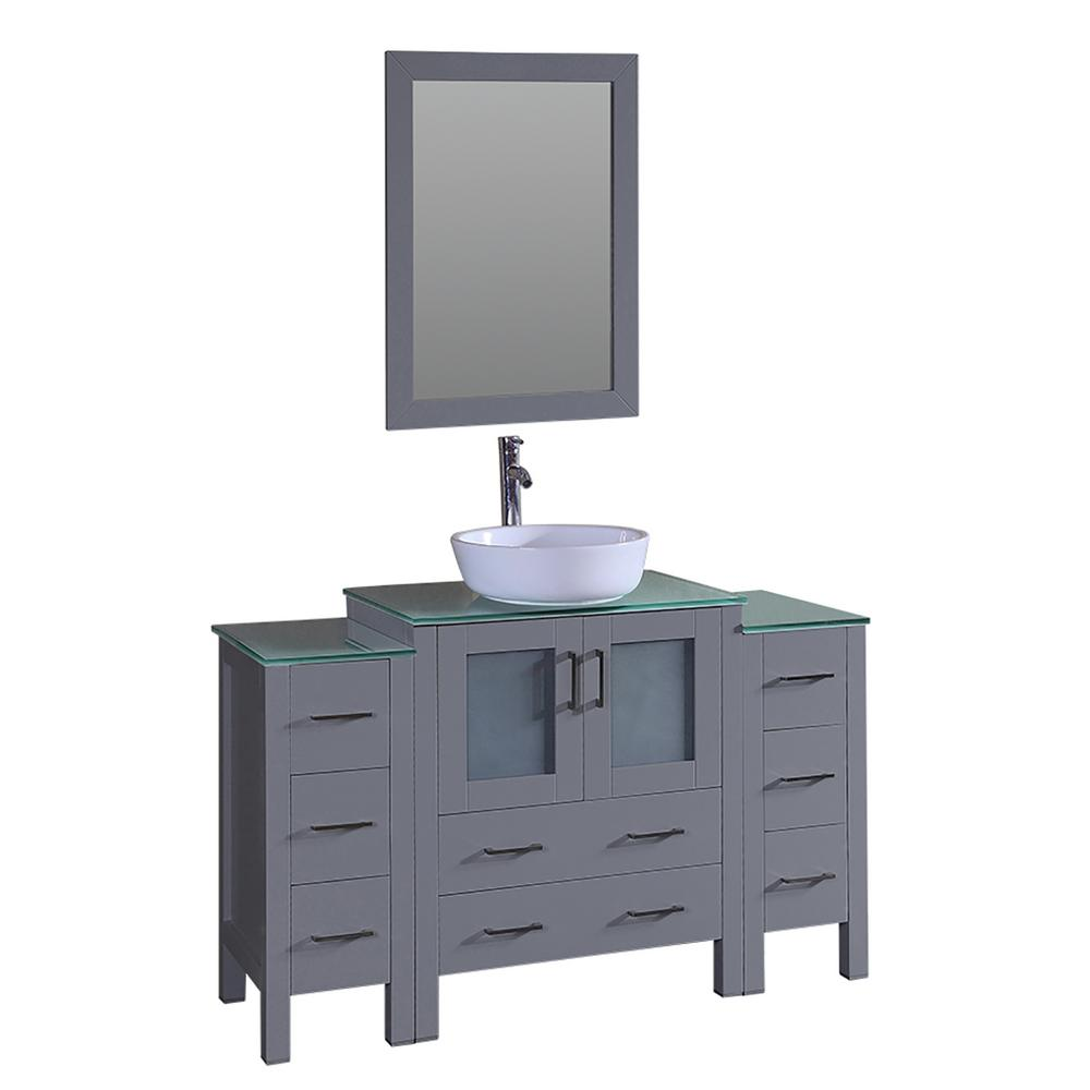 Bosconi 54 in. W Single Bath Vanity with Tempered Glass Vanity Top in Green with White Basin and Mirror