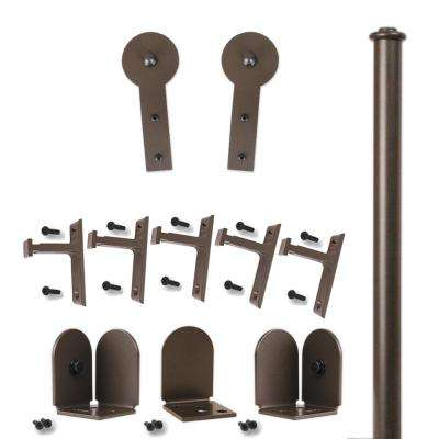 96 in. Round Stick Oil Rubbed Bronze Rolling Door Hardware Kit