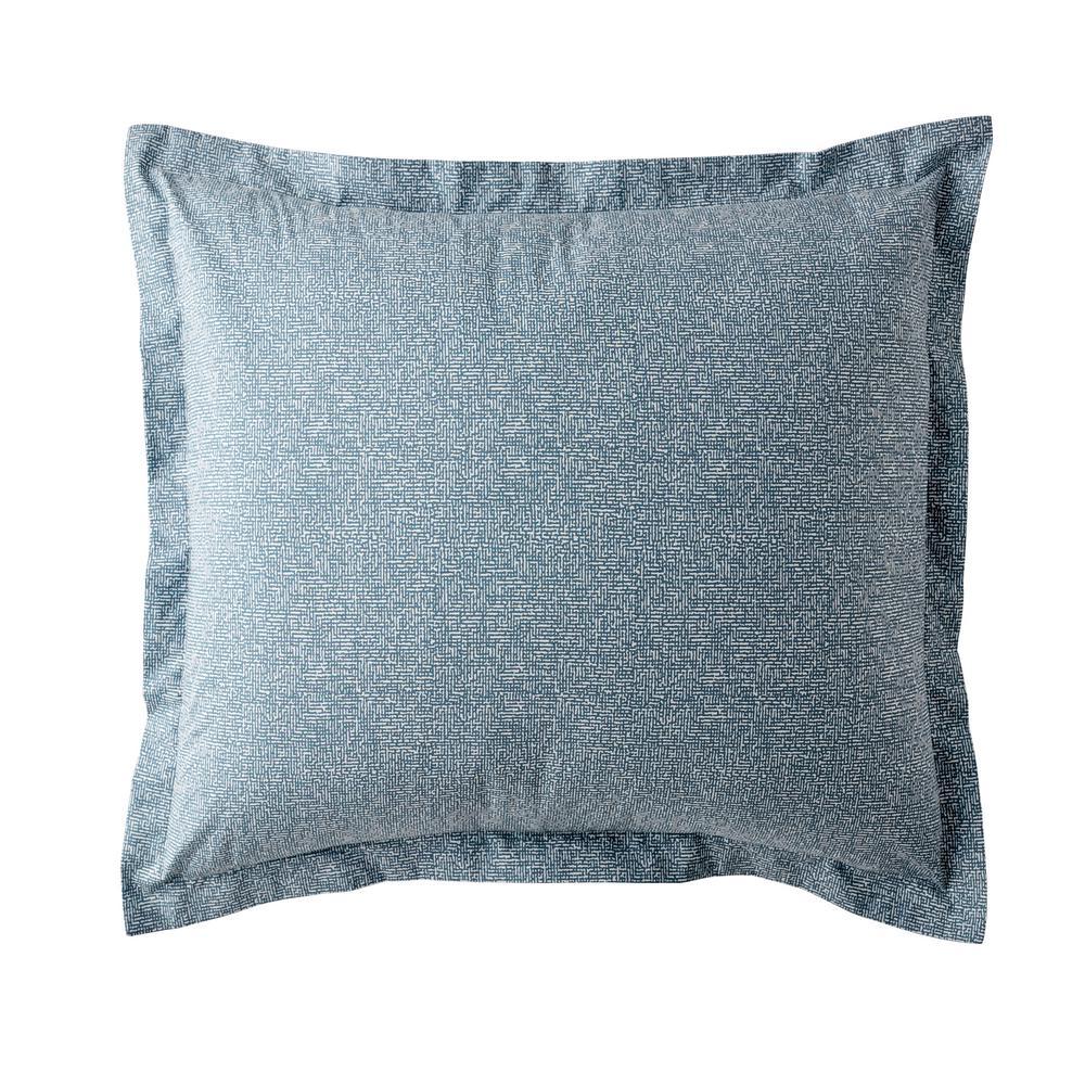 LoftHome Maze Denim Blue Geometric 200-Thread Count Organic Cotton Percale Euro Sham