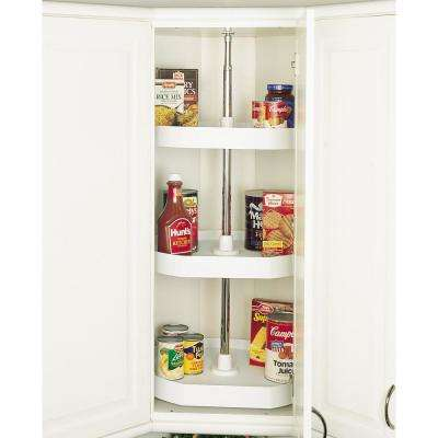 38 in. H x 20 in. W x 20 in. D White Polymer 3-Shelf D-Shape Lazy Susan Set