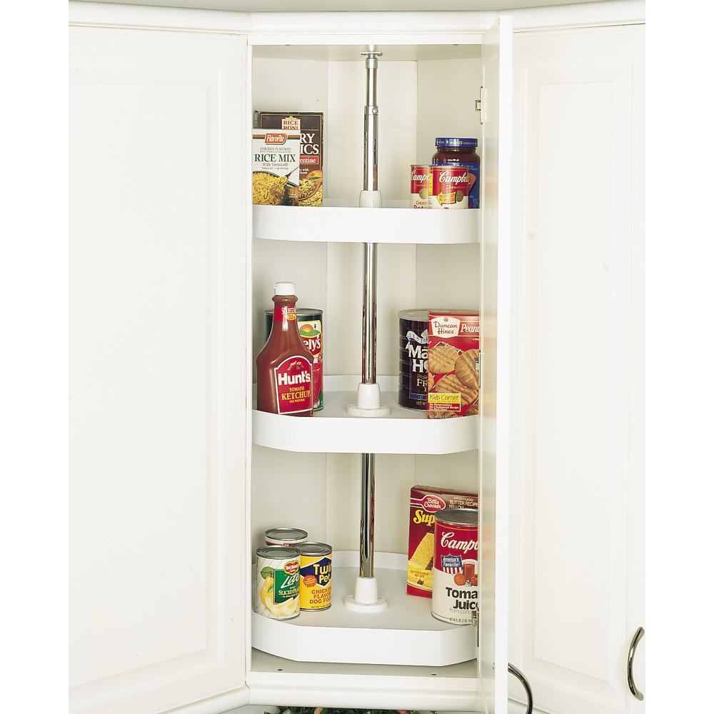 22 in White Polymer D-Shape Lazy Susans 3-Shelf