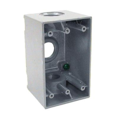 1-Gang Gray Weatherproof Box with Three 3/4 in. Threaded Outlets