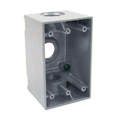 1-Gang Weatherproof Deep Gray Box with Three 3/4 in. Threaded Outlets