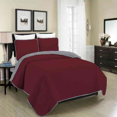 MHF Home Allison Reversible 3-Piece Burgundy and Grey Full and Queen Quilt Set