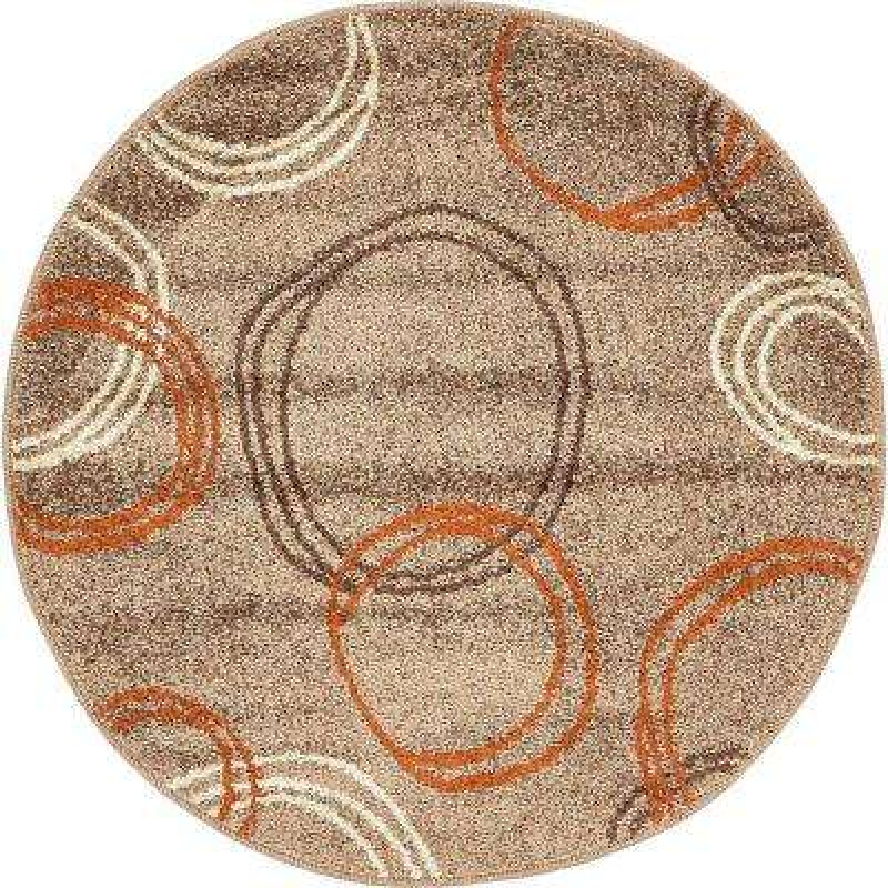 Autumn Cornucopia Light Brown 3' 3 x 3' 3 Round Rug