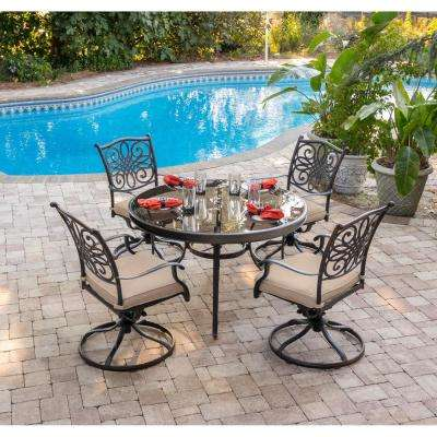 Traditions 5-Piece Aluminum Outdoor Dining Set with Round Glass-Top Table and Swivel Chairs with Natural Oat Cushions