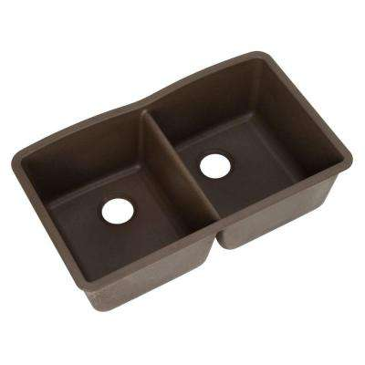 Diamond Undermount Granite Composite 32 in. 0-Hole Equal Double Basin Kitchen Sink in Cafe Brown