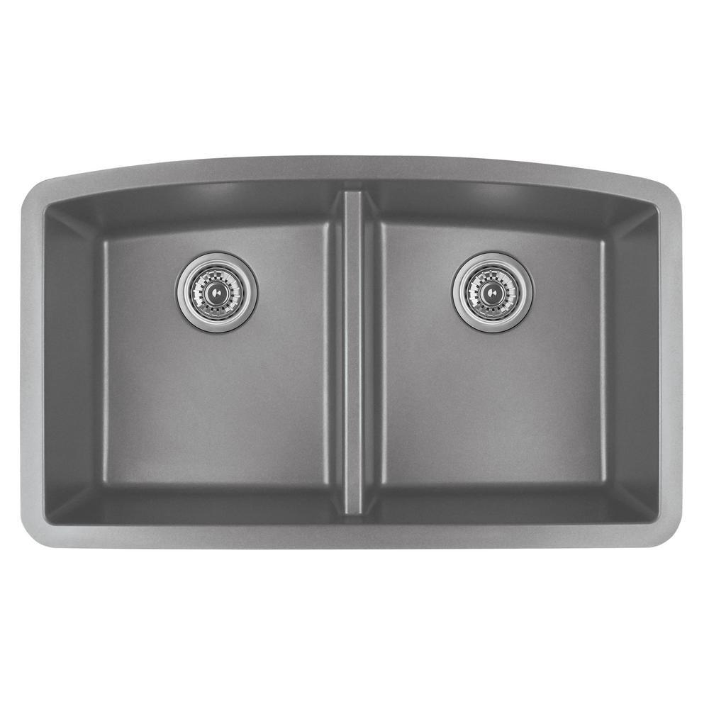 Undermount Quartz Composite 32 in. 50/50 Double Bowl Kitchen Sink in Grey