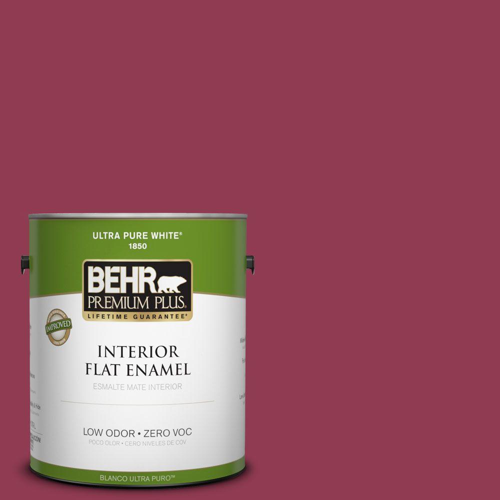 BEHR Premium Plus 1-gal. #120D-6 Cranberry Splash Zero VOC Flat Enamel Interior Paint-DISCONTINUED