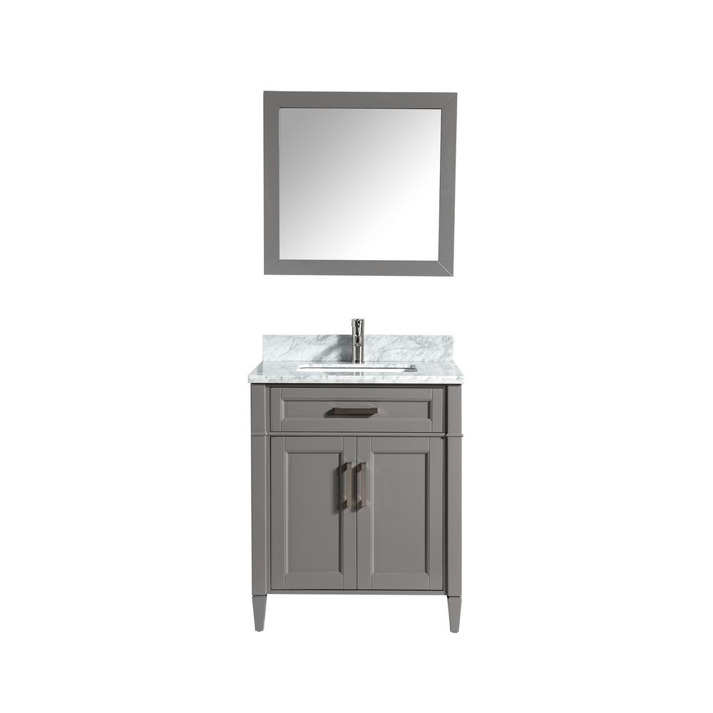 Vanity Art Savona 30 in. W x 22 in. D x 36 in. H Bath Vanity in Grey with Vanity Top in White with White Basin and Mirror