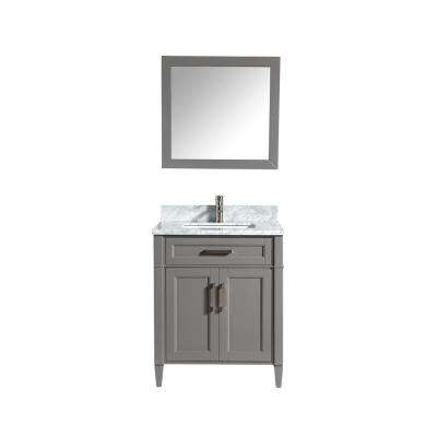 Savona 30 in. W x 22 in. D x 36 in. H Bath Vanity in Grey with Vanity Top in White with White Basin and Mirror