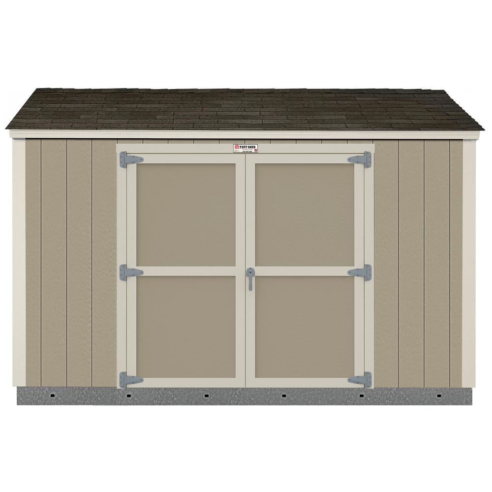 Tuff Shed Installed The Tahoe Series 6 ft. x 12 ft. x 8 ft. 3 in. Un-Painted Wood Storage Building with Shingles and Sidewall Door, Browns / Tans -  1002280