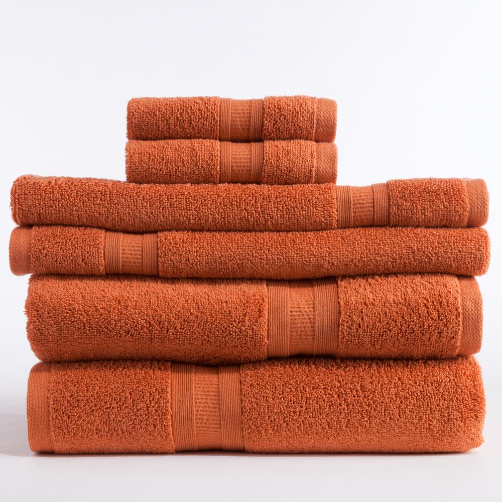 Aertex 6 Piece Micro Cotton Towel Set In Paprika 16250ste85 The Home Depot