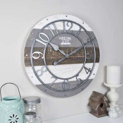 Shabby Wood Wall Clock