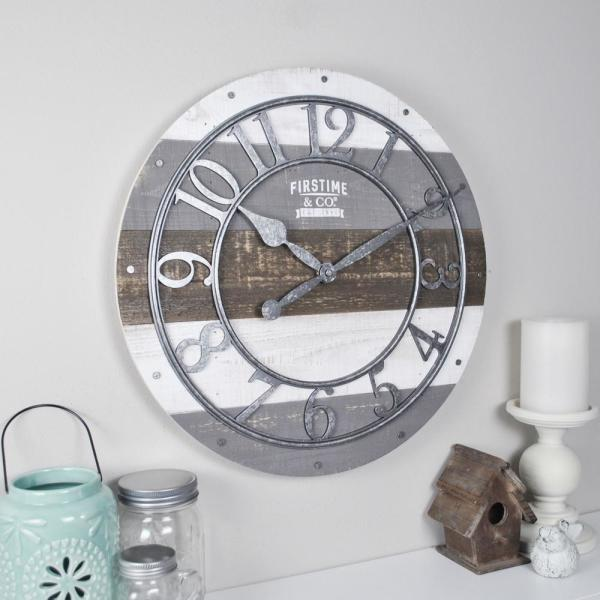 9d0be6c6d FirsTime Shabby Wood Wall Clock 99687 - The Home Depot