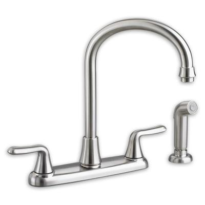 Colony Soft 2-Handle Standard Kitchen Faucet with Brass Gooseneck Spout in Polished Chrome