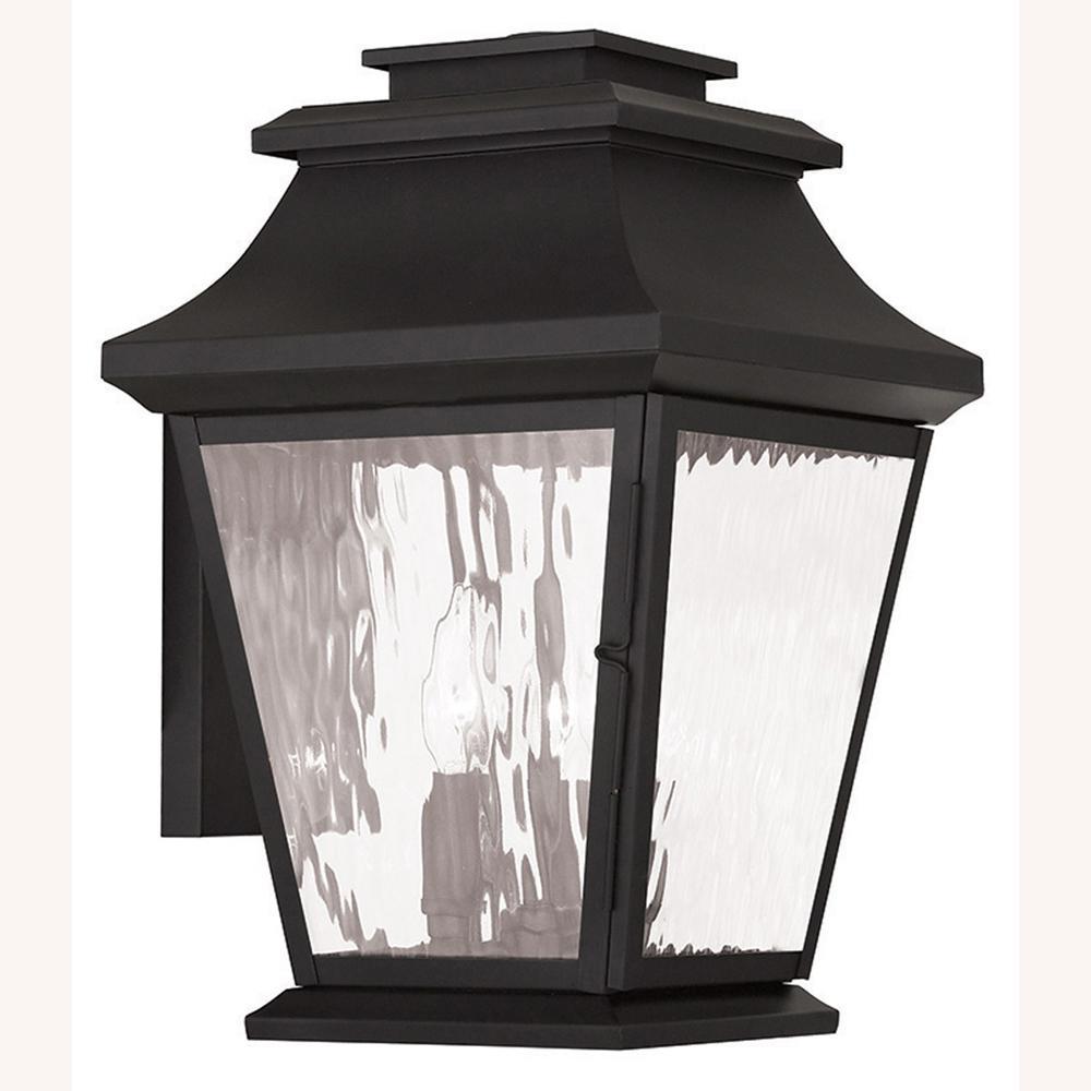 Hathaway 3-Light Black Outdoor Wall Lantern