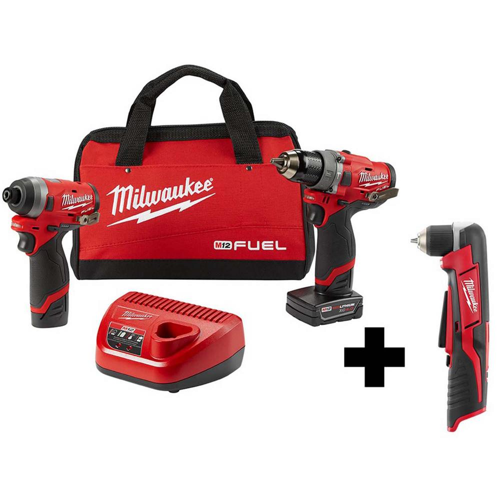 Milwaukee M12 FUEL 12-Volt Li-Ion Brushless Cordless Hammer Drill and Impact Driver Combo Kit(2-Tool) w/Free M12 Right Angle Drill was $308.0 now $199.0 (35.0% off)