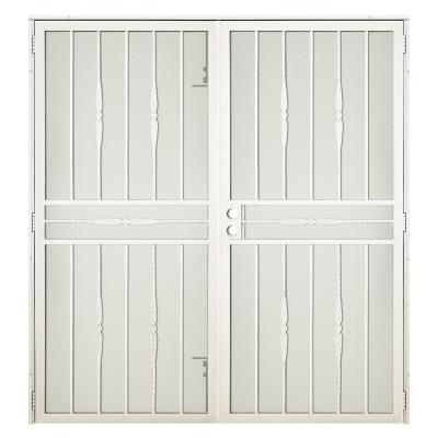 72 in. x 80 in. Cottage Rose Navajo White Surface Mount Outswing Steel Security Double Door with Expanded Metal Screen