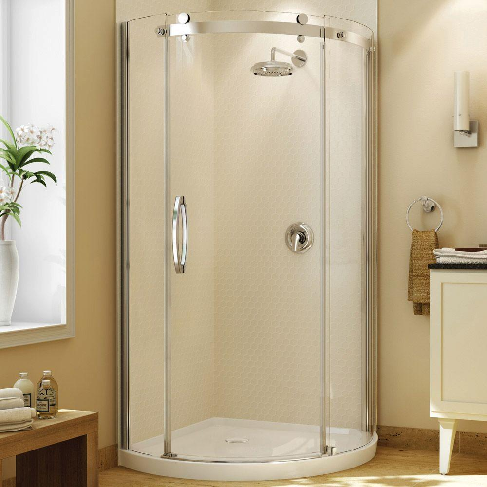 MAAX Olympia 36 in. x 36 in. x 78 in. Standard Fit Round Shower Kit with Clear Glass in Chrome-DISCONTINUED