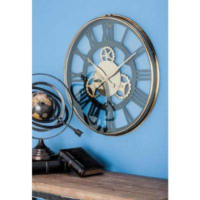 Black and Gold Industrial Analog Wall Clock