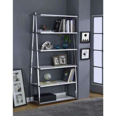 Coleen White High Gloss and Chrome Leaning Bookcase