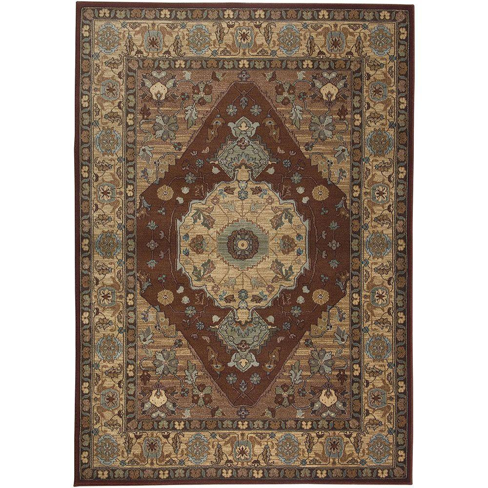 Rizzy Home Bellevue Collection Rust and Tan 9 ft. 2 in. x 12 ft. 6 in. Area Rug