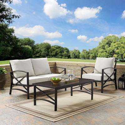 Kaplan 3-Piece Metal Patio Outdoor Seating Set with Oatmeal Cushion - Loveseat, Chair, Coffee Table