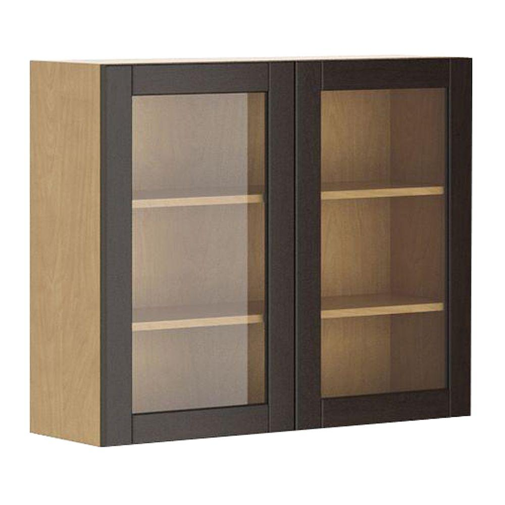 Eurostyle Barcelona Ready To Assemble 36 X 30 X 12.5 In. Wall Cabinet In  Maple