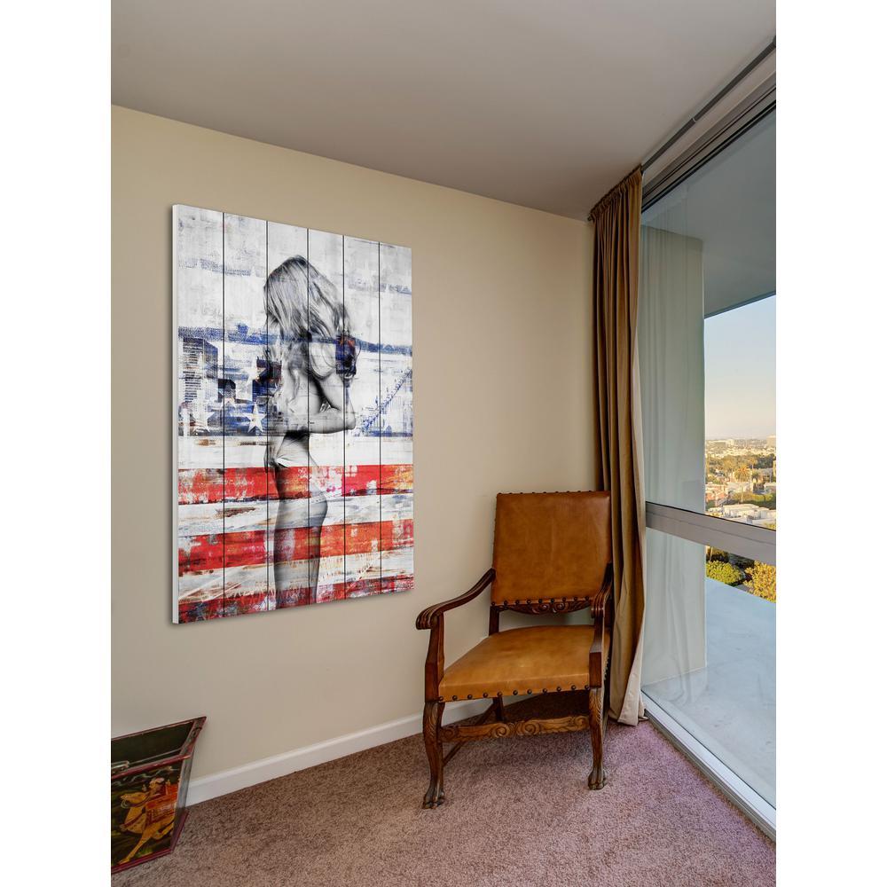 60 in. H x 40 in. W ''Behind the Stripes'' by Parvez Taj Printed White Wood Wall Art