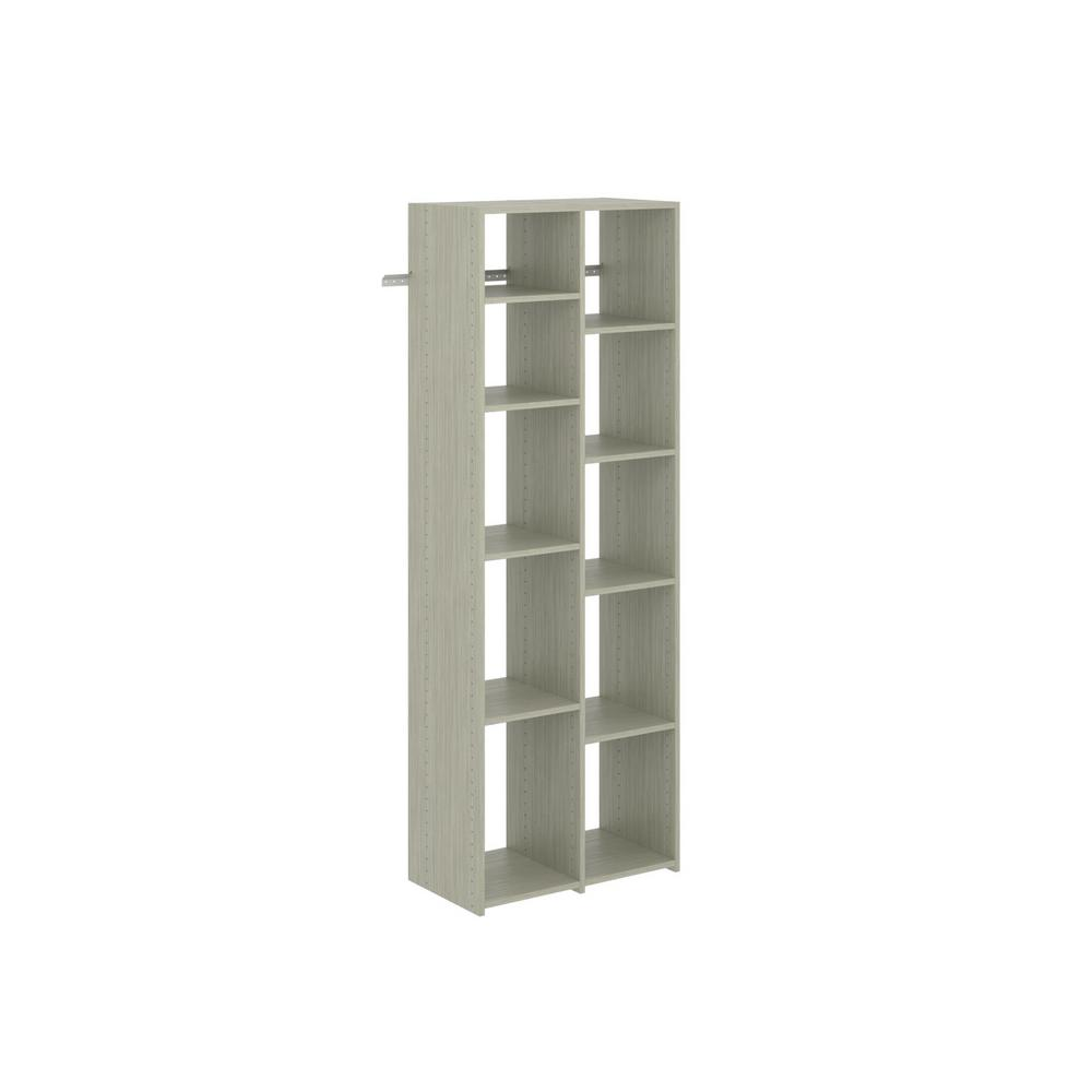 Martha Stewart Living 14 in D X 28.875 in. W X 72 in. H Rustic Grey Wood Adjustable Shoe Tower Closet Kit