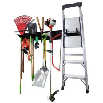 8 in. H x 64 in. W Garage Tool Storage Lawn and Garden Tool Organizer Rack with Black Metal Pegboard and Hook Assortment