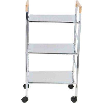 3-Tier Metal 4-Wheeled Utility Cart in Silver