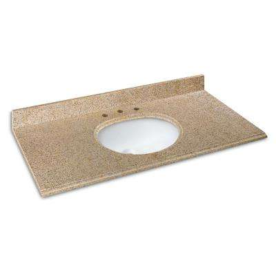 49 in. W x 22 in. D Granite Vanity Top in Beige with White Basin