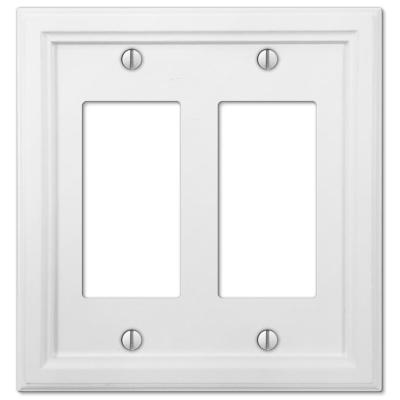 Elly 2 Gang Rocker Composite Wall Plate - White