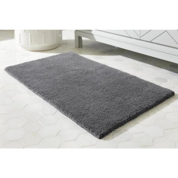 Home Decorators Collection Charcoal 21 in. x 34 in. Cotton Reversible Bath Rug