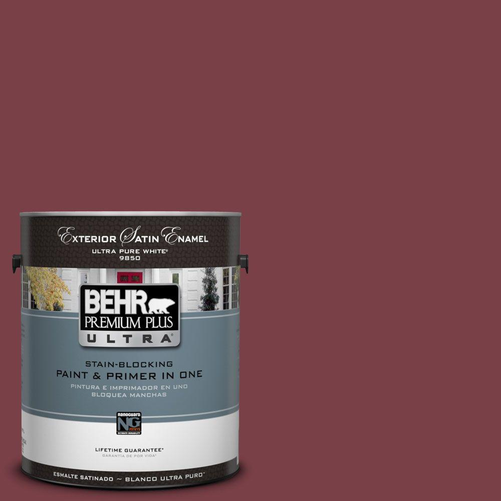 BEHR Premium Plus Ultra 1-Gal. #UL100-8 Spiced Wine Satin Enamel Exterior Paint-DISCONTINUED