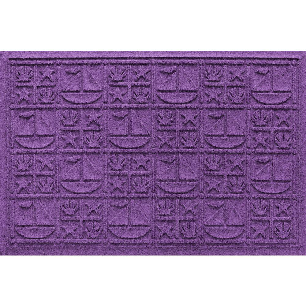 Purple 24 in. x 36 in. Nautical Polypropylene Door Mat