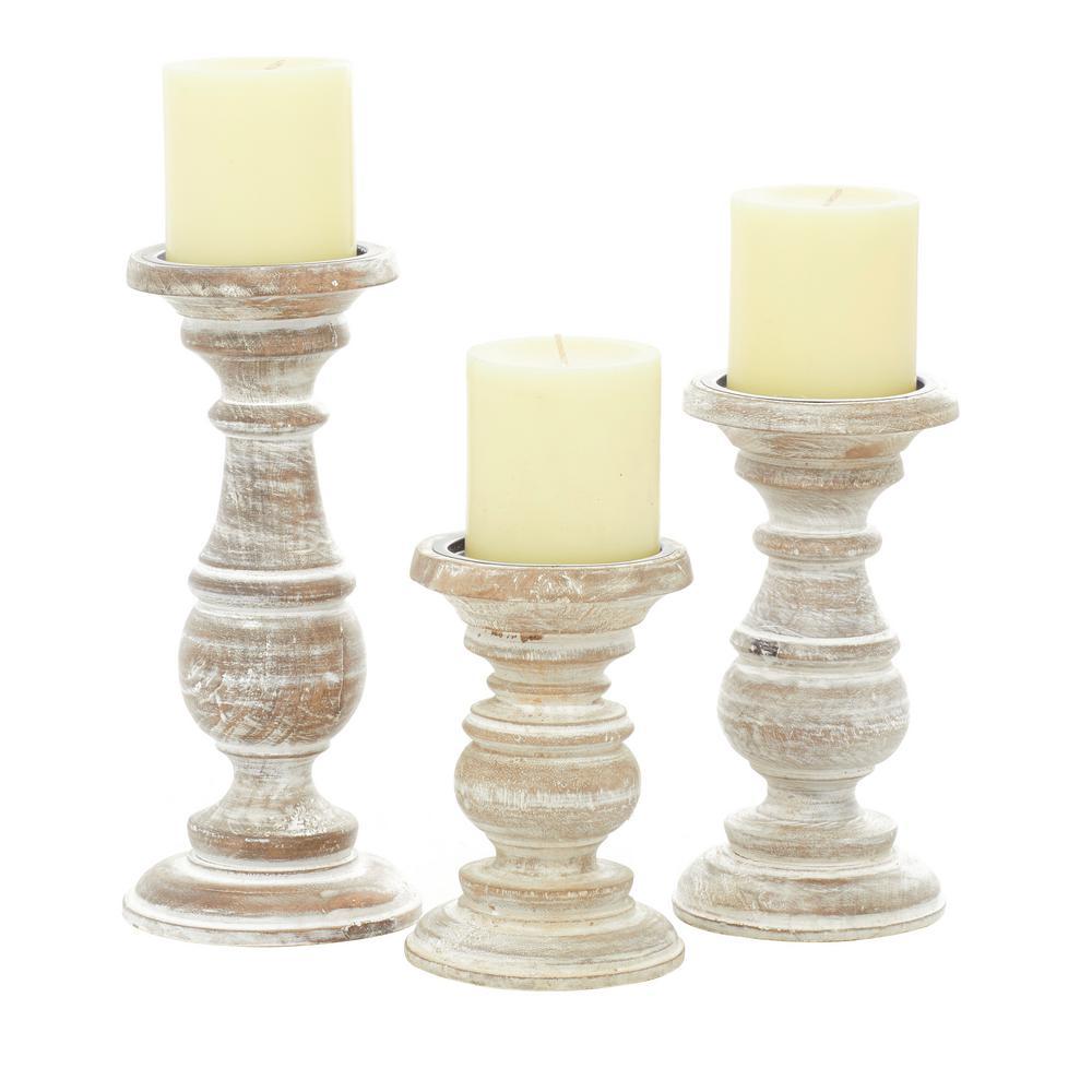 10.1 in. x 4.45 in. x 3.95 in. x 8.05 in. x 3.9 in. x 6.2 in. Medium Rustic White Wooden Candlestick Holder (Set of 3)