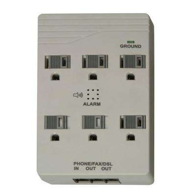6-Outlet 1440-Joule Plug-In Surge Protector with Alarm and Sliding Safety Covers