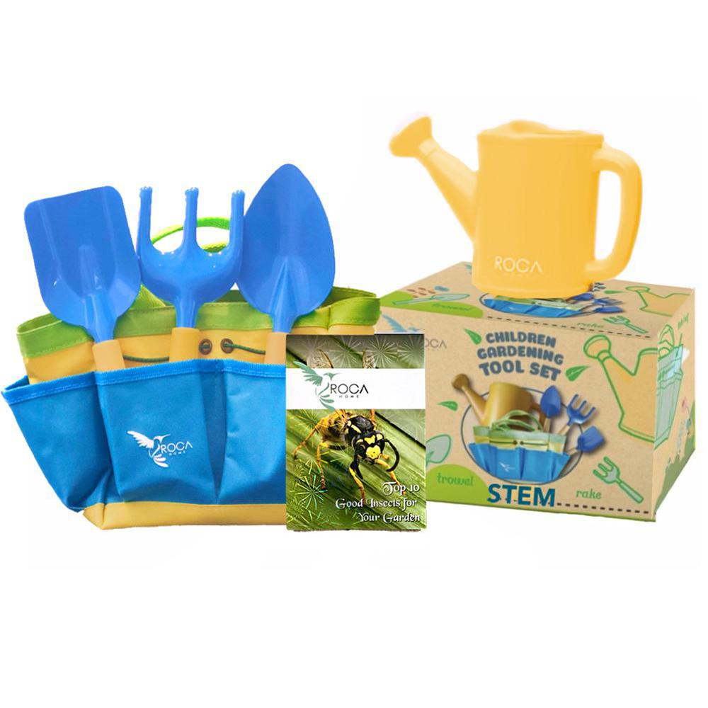 ROCA Toys Kids Gardening Tool Set with STEM Learning Guide