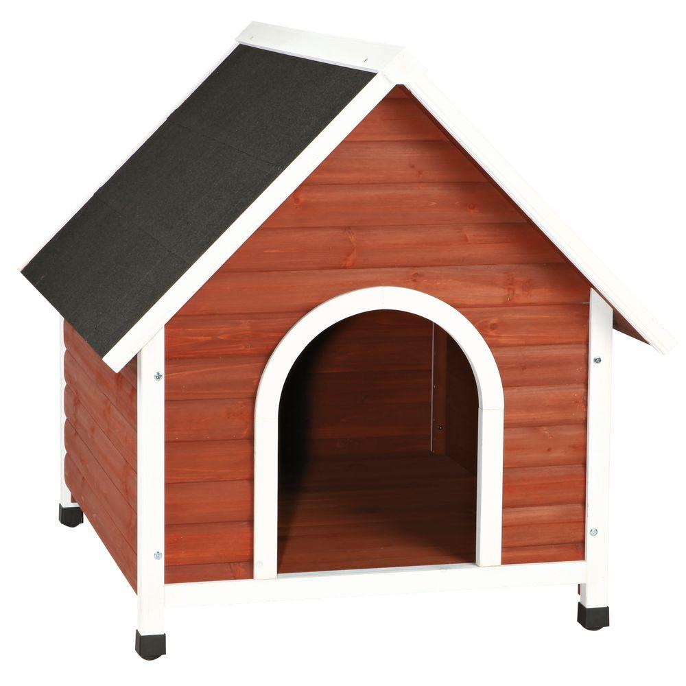 Trixie nantucket medium dog house in brown white 39473 for Bricodepot casetas perro