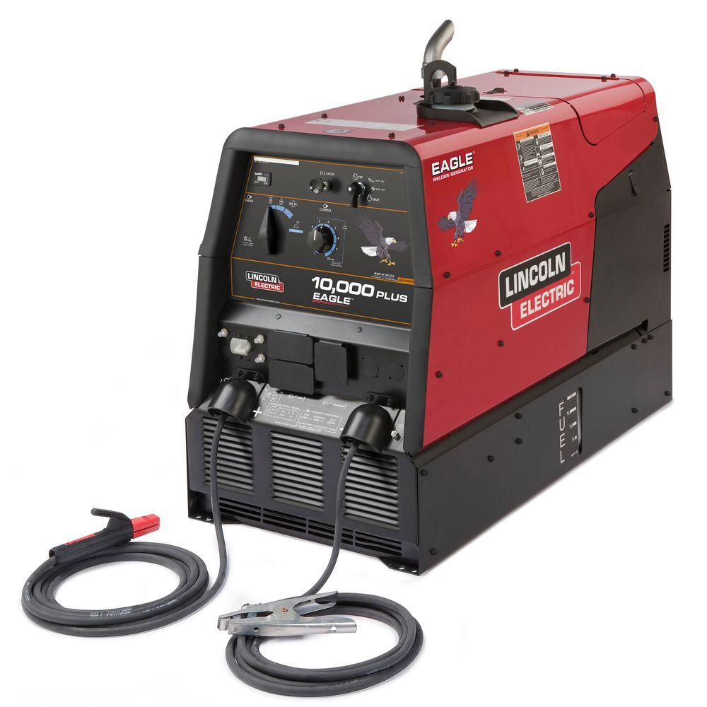225 Amp Eagle 10,000 Plus Gas Engine Driven Welder w/stick leads,