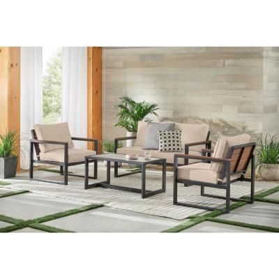 West Park Black Aluminum Outdoor Patio 4-Piece Conversation Set with CushionGuard Putty Tan Cushions