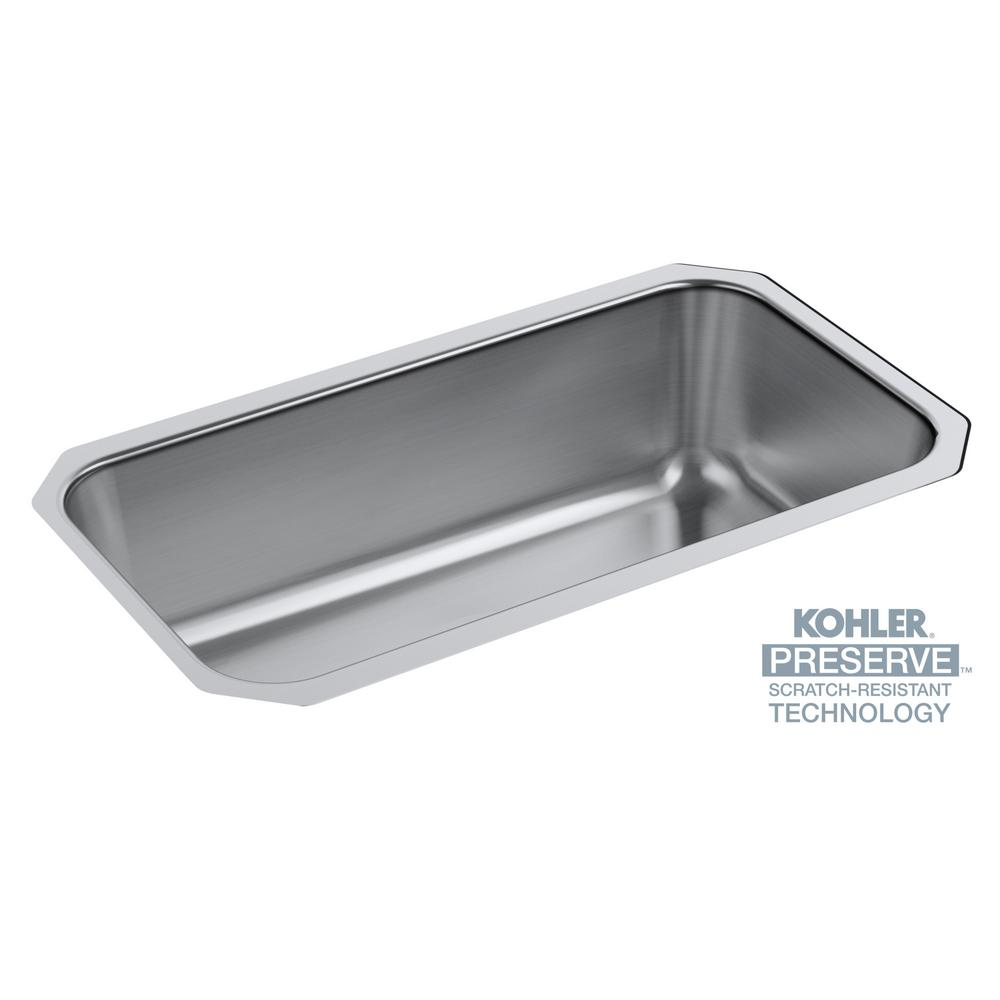 Kohler Undertone Preserve Undermount Scratch Resistant Stainless Steel 31 In Single Bowl Kitchen Sink