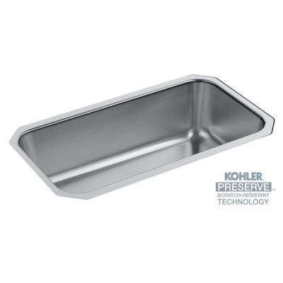 Undertone Preserve Undermount Scratch-Resistant Stainless Steel 31 in. Single Bowl Kitchen Sink Kit