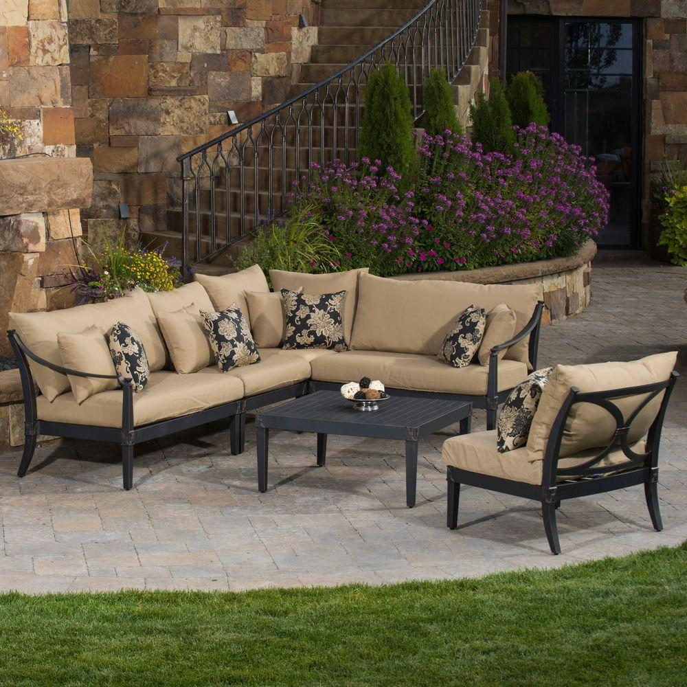 RST Brands Astoria 6-Piece Patio Sectional Seating Set with Delano Beige Cushions