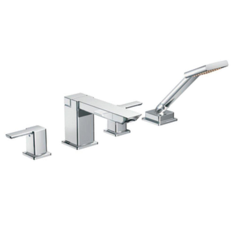MOEN 90-Degree 2-Handle Deck-Mount Roman Tub Faucet with Hand Shower in Chrome (Valve Not Included)