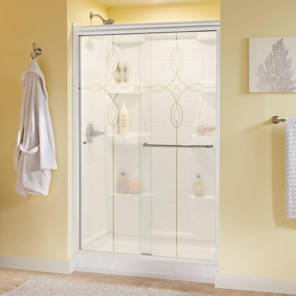 Simplicity 48 in. x 70 in. Semi-Frameless Sliding Shower Door in