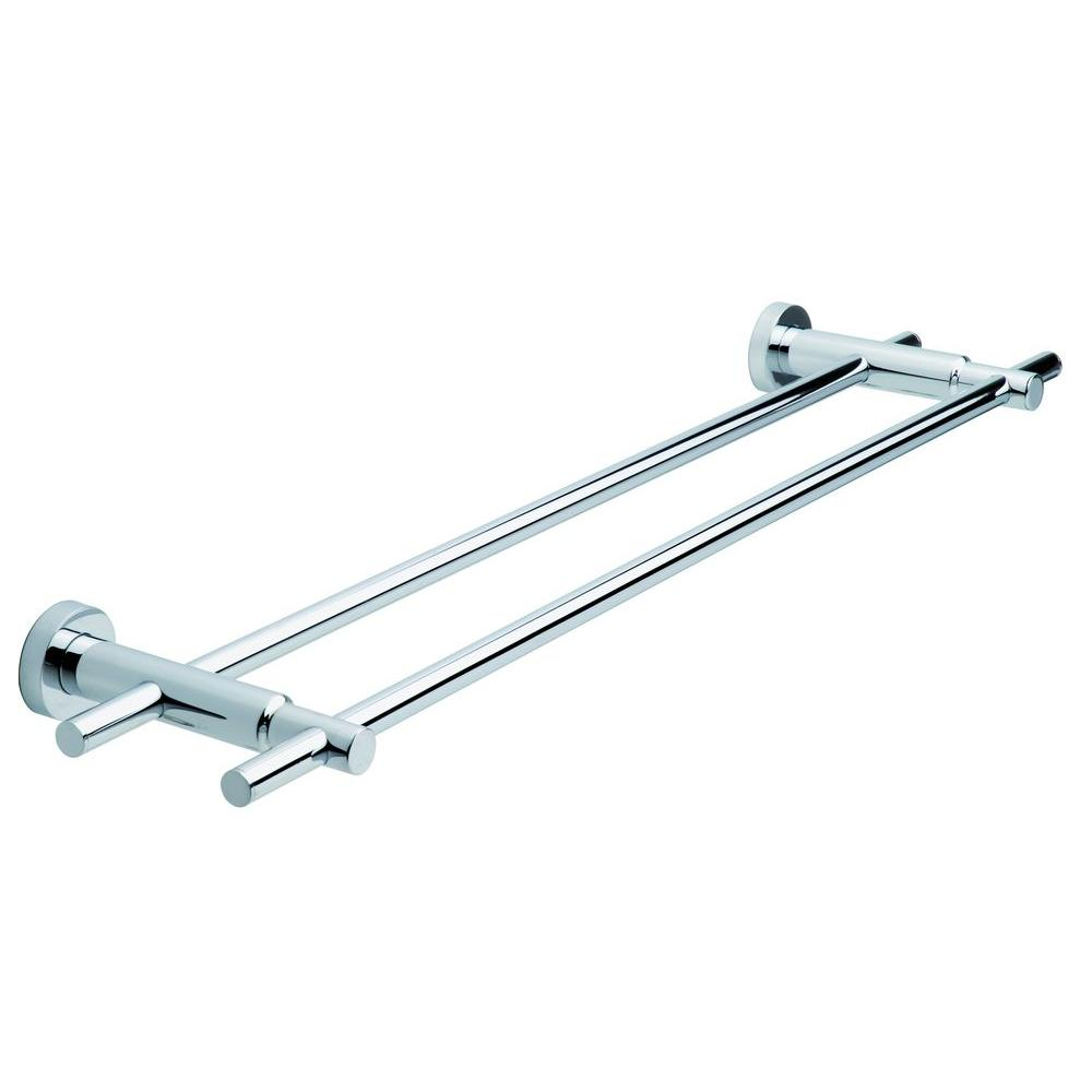 No Drilling Required 24 In Double Towel Bar Chrome
